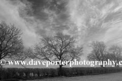 Hoare frost winter scene over fields, Bulwick village, Rockingham Forest, Northamptonshire, England; Britain; UK