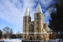 Winter snow over Southwell Minster