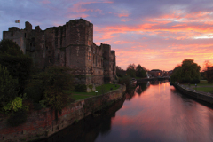 Sunset view over the ruins of Newark Castle