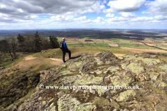 Walker on the Wrekin Hill ancient hill fort