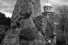 The ruins of Bridgnorth Castle, Bridgnorth town