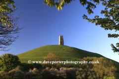 Summer, June, July, Glastonbury Tor, St Michael's Tower, Somerset Levels, Somerset County, England, UK