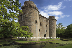 Summer, June, July, view or the ruins of Nunney Castle, Nunney village, Somerset County, England, UK