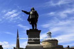 The Robert Blake Statue, Cornhill, Bridgwater town centre, Somerset, England.