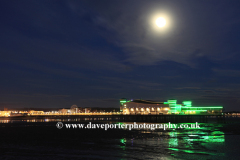 Summer, June, July, The Victorian pier at night, Weston Super Mare town, Bristol Channel, Somerset County, England, UK