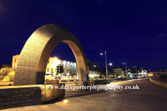 Stone Arch Sculpture at night, Weston Super Mare, Bristol Channel, Somerset County, England, UK