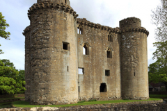 Summer view or the ruins of Nunney Castle, Nunney village, Somerset County, England, UK