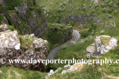 Summer view over the Limestone cliffs of Cheddar Gorge, Mendip Hills, Somerset County, England, UK