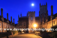 The Vicars Close, old medieval street at night, Cathedral church of St Andrews in Wells, Wells City, Englands smallest City, Somerset County, England, Britain, UK