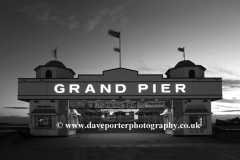 The Victorian pier at night, Weston Super Mare town, Bristol Channel, Somerset County, England, UK