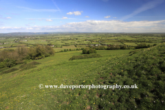 Summer view over the Somerset Levels, Somerset County, England, UK
