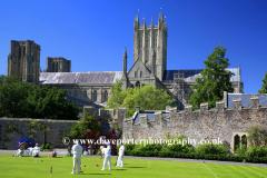 Summer, June, July, Summertime, Croquet at Bishops Palace, Wells City, Somerset, England, Britain, UK