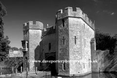 Drawbridge entrance to Bishops Palace Wells City Somerset England Britain UK