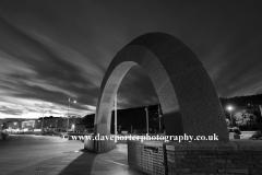 Summer, June, July, Stone Arch Sculpture at night, Weston Super Mare, Bristol Channel, Somerset County, England, UK