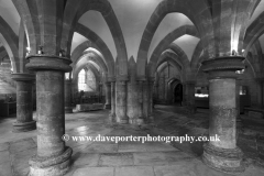 The Undercroft of the Chapter House, Interior of the Cathedral church of St Andrews in Wells, Wells City, Englands smallest City, Somerset County, England, Britain, UK