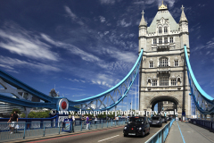 Summer, Tower Bridge over the River Thames, (built 1886-1894) it is a combined bascule and suspension bridge, London City, England, United Kingdom