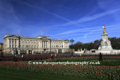 Summer, June, July, Buckingham Palace & Queen Victoria Monument, St James, London, England, UK
