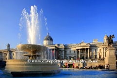 Fountain outside the National Gallery with King George V Statue, Traffalgur Square,  London, England