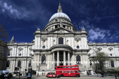 Summer, exterior view of Saint Pauls Cathedral, North Bank, London City, England, UKBuilt by Sir Christopher Wren