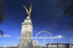 Summer, June, July, War Memorial and London Eye, South Bank, river Thames, London, England, UK