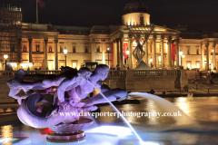 Winter, December, January, Christmas Tree, water fountains at night, Trafalgar Square, City Of Westminster, England, London, UK,