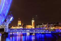 Summer, June, May, The Millennium Eye Wheel at night, Big Ben, Houses of Parliament at night, South Bank of the river Thames, London, England, UK