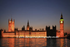 Dusk over the Houses of Parliment, river Thames, Westminster, London, England, UK