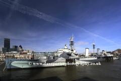 Summer, June, July, HMS Belfast, river Thames, South Embankment, London, England, UK