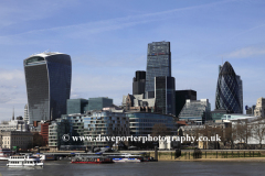 Summer, river Thames, North Bank, Walkie-Talkie building, Swiss Bank Building the Gherkin, London City, England, UK