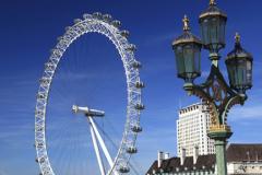 Summer, British Airways London Eye or Millennium Observation Wheel opened in 1999, South Bank, river Thames, Lambeth, London City, England, United Kingdom