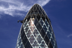 Summer view of the Swiss Bank Building, also known as the Gherkin, North Bank, London City, England, United Kingdom