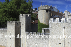 The walls and grounds of the Tower of London, North Bank, London City, England, United Kingdom