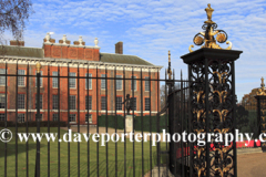 Summer, June, May, Ornate gates Kensington Palace, Kensington Gardens, London, England, UK,