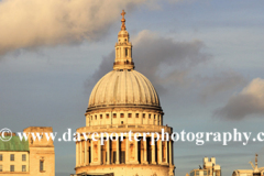 Sunset, St Pauls Cathedral, river Thames embankment, London City, England, UK