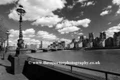 Summer, June, July, river Thames, St Georges Wharf, Vauxhall Bridge, London, England, UK