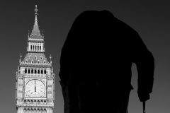 Winston Churchill statue and Big Ben Clock tower, North Bank, Westminster, London City, England, UK