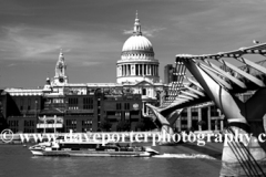 The Millennium Bridge and St. Pauls Cathedral, river Thames, North Bank, London City, England, United Kingdom