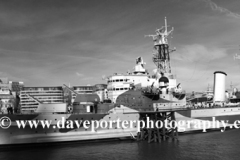 HMS Belfast a WW2 museum warship, Southwark, South Bank river Thames, London City, England, United Kingdom