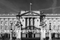 Summer view of the frontage of Buckingham Palace, St James, London, England, UK