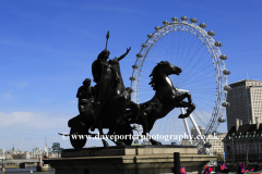 Statue of Queen Boadicea with spear and chariot, Westminster bridge, London City, England, UK