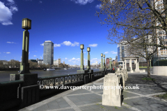Summer, the Albert embankment and Westminster Bridge, South bank, river Thames, Westminster, London City, England, UK
