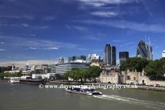 The river Thames, North Bank, London City, England, UK