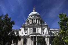 Summer, exterior view of Saint Pauls Cathedral, North Bank, London City, England, United Kingdom