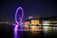 Dusk, Millenium Wheel, South Bank River Thames, London England UK