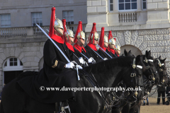 The Household Cavalry, changing the guard at Horse guards parade, Westminster; London City