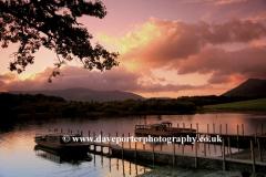 Autumn sunset, boats on Derwentwater Lake, Keswick