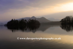 Misty Sunset over Derwentwater lake, Keswick