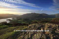 Sunset over Keswick town from Walla Crag fell