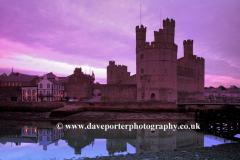 Caernarfon Castle at dusk, Caernarfon Town