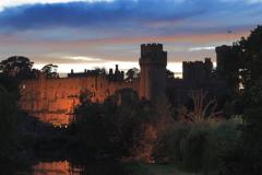 Dusk, Warwick Castle on the River Avon